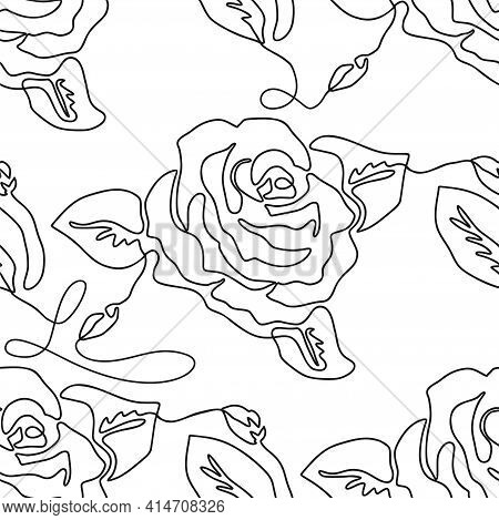 One Line Seamless Modern Pattern. Rose Flower Modern Simplicity Vector Illustration.