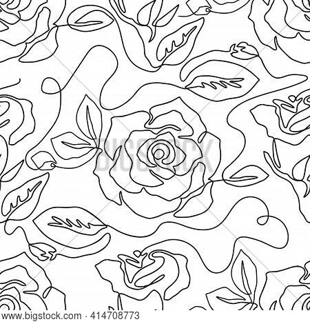 One Line Seamless Modern Pattern. Rose Flower Modern Simplicity Vector Illustration. Contemporary Ar