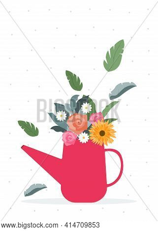 Springtime Vector template for postcards and posters in flat design Garden flowers and wildflowers in bouquet in watering can on dotted white background