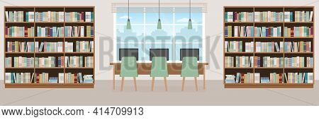Empty Library. Modern Interior With Bookcases, Table, Chairs And Computers. Vector Illustration.