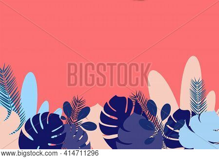 Springtime Vector illustration with copy space in flat design Tropical plants, leaves of monstera, lush foliage on pink background