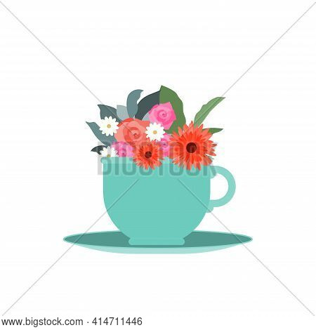 Springtime Vector illustration isolated on white backdrop Garden flowers in blue teacup on white background Icon in flat design