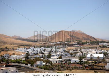 Landscape Lanzarote, Small Town  Yaiza, Canary Islands, Spain.