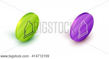 Isometric Line Condom Icon Isolated On White Background. Safe Love Symbol. Contraceptive Method For