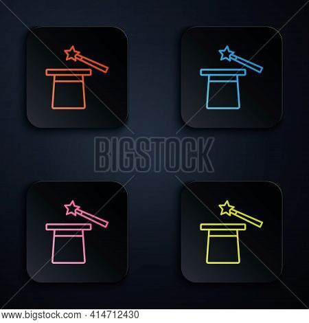 Color Neon Line Magic Hat And Wand Icon Isolated On Black Background. Magic Trick. Mystery Entertain
