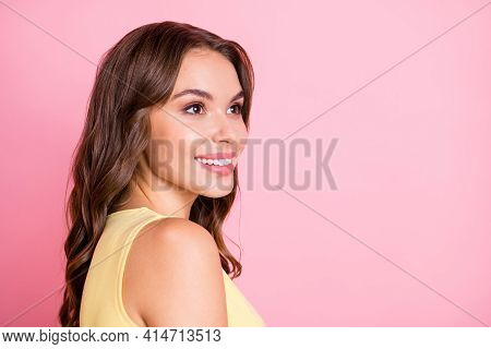 Portrait Of Young Beautiful Attractive Smiling Happy Positive Good Mood Girl Look Copyspace Isolated