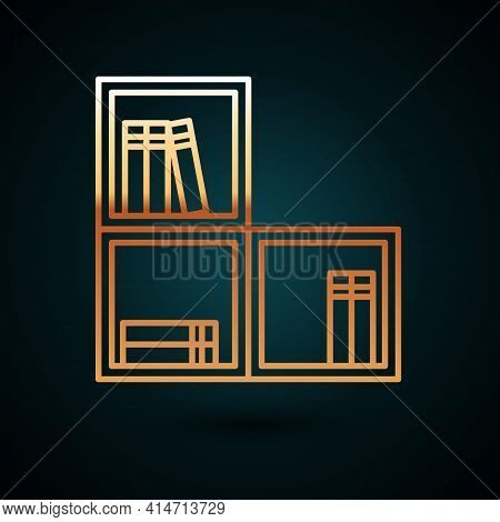 Gold Line Shelf With Books Icon Isolated On Dark Blue Background. Shelves Sign. Vector