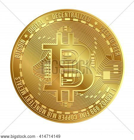 Gold Virtual Bitcoin Coin Isolated On White Background. Popular Cryptocurrency. Bitcoin Digital Mone