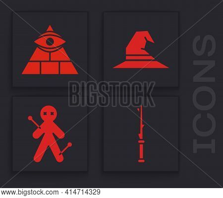 Set Magic Wand, Masons, Witch Hat And Voodoo Doll Icon. Vector