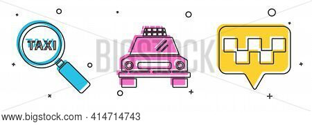 Set Magnifying Glass And Taxi Car, Taxi Car And Map Pointer With Taxi Icon. Vector