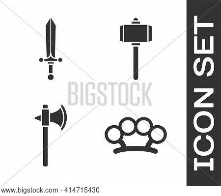 Set Brass Knuckles, Medieval Sword, Medieval Axe And Battle Hammer Icon. Vector
