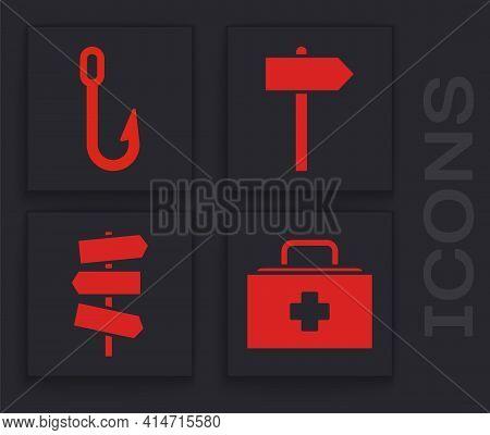 Set First Aid Kit, Fishing Hook, Road Traffic Signpost And Road Traffic Signpost Icon. Vector