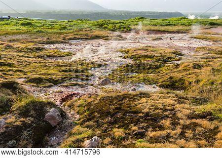 Steaming, Sulfuric, Active Fumaroles Near Pauzhetskaya Geothermal Power Plant, Kamchatka Peninsula,