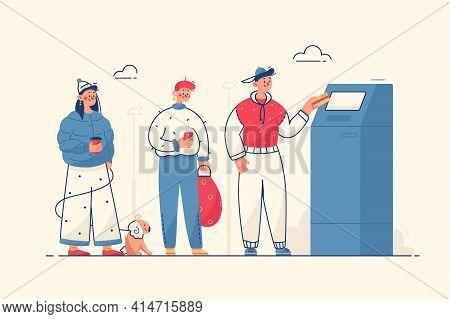 People At Cash Machine Vector Illustration. Line