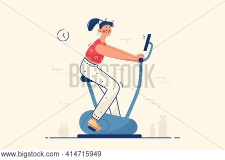 Young Woman In Gym Vector Illustration. Female