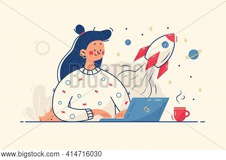 Woman Working On Startup Vector Illustration. Lady