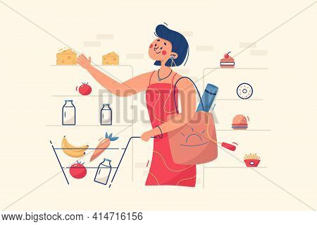 Woman Buying Food In Store Vector Illustration