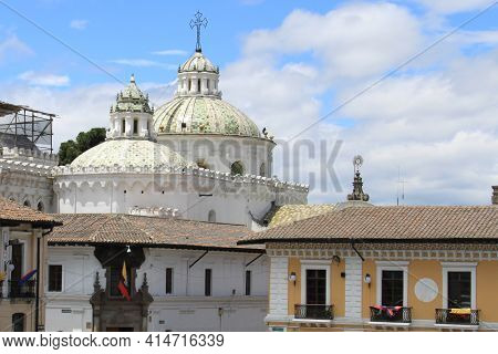 View Of The Domes Of The Church Of St. Francis In Quito, Ecuador. High Quality Photo