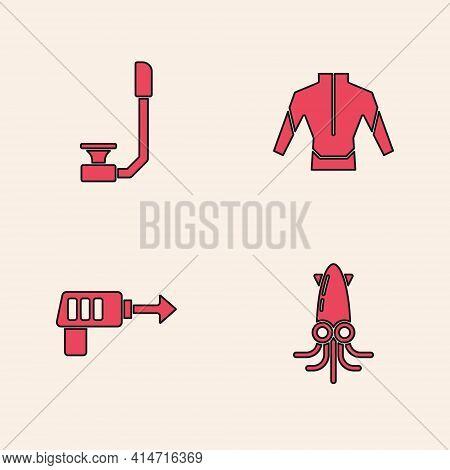 Set Octopus, Snorkel, Wetsuit And Fishing Harpoon Icon. Vector