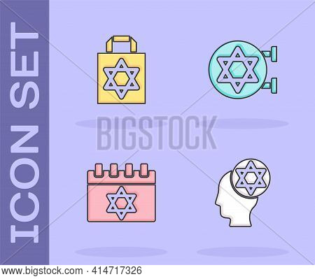 Set Orthodox Jewish Hat, Shopping Bag With Star Of David, Jewish Calendar And Synagogue Icon. Vector