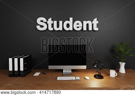 Modern Clean Office Workspace With Computer Screen And Dark Wall; Student Lettering; 3d Illustration