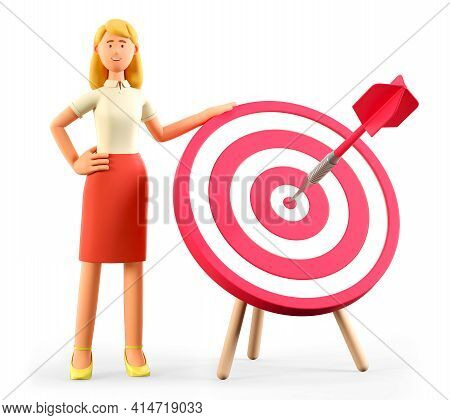 3d Illustration Of Beautiful Blonde Woman Standing Next To A Huge Target With A Dart In The Center,