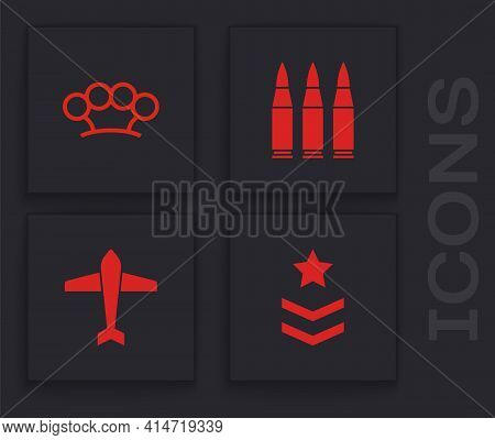 Set Military Rank, Brass Knuckles, Bullet And Jet Fighter Icon. Vector