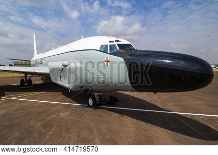 Fairford, United Kingdom - July 13, 2018: Royal Air Force Boeing Rc-135w Rivet Joint Zz665 Reconnais
