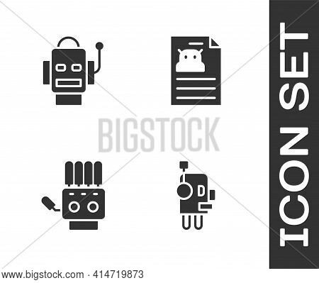 Set Robot, , Mechanical Robot Hand And Technical Specification Icon. Vector