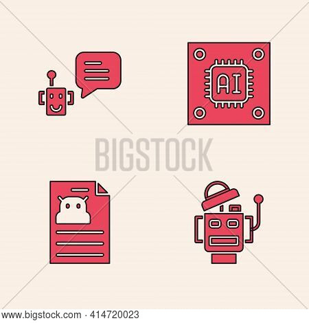 Set Robot, Bot, Processor With Microcircuits Cpu And Technical Specification Icon. Vector
