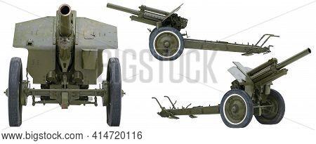 Soviet Howitzer During The Second World War. 122 Mm Howitzer Model 1938 (m-30). Soviet Howitzer In T