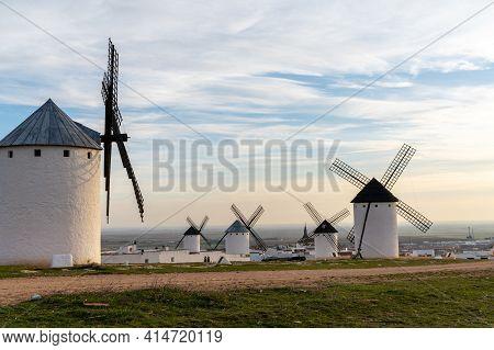 The Historic White Windmills Of La Mancha Above The Town Of Campo De Criptana