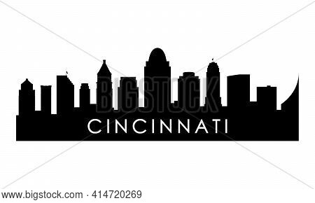 Cincinnati Skyline Silhouette. Black Cincinnati City Design Isolated On White Background.