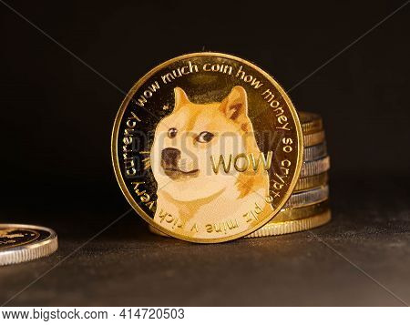 Crypto Currency Background With Various Of Shiny Silver And Golden Physical Cryptocurrencies Symbol