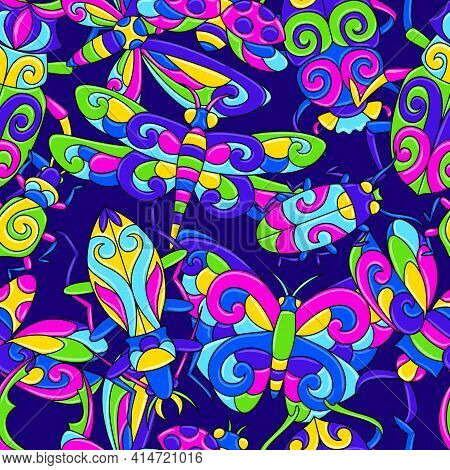 Seamless Pattern With Stylized Bugs And Insects. Mexican Ceramic Cute Naive Art.