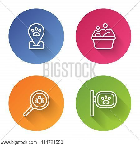 Set Line Location Pet Grooming, Pets Bath, Flea Search And . Color Circle Button. Vector