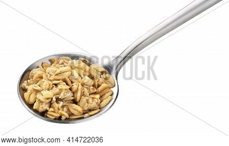 Granola, Crunchy Muesli In Spoon Isolated On White Background