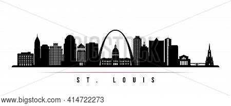 St.louis Skyline Horizontal Banner. Black And White Silhouette Of St.louis, Missouri. Vector Templat