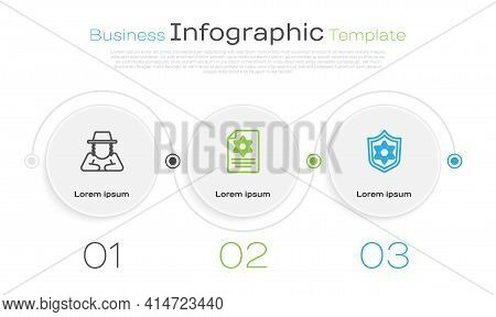 Set Line Orthodox Jewish Hat, Torah Scroll And Shield With Star Of David. Business Infographic Templ
