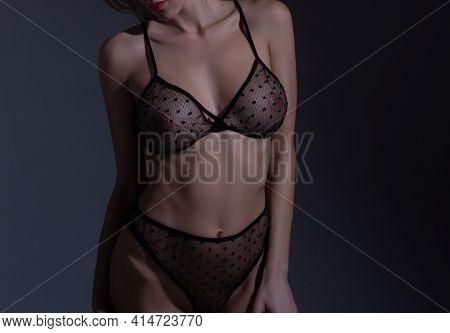 Woman Breas, Boobs In Bra, Sensual Tits. Transparent Lingerie. Beautiful Slim Female Body. Lingerie