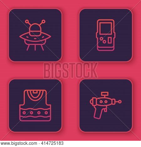 Set Line Ufo Flying Spaceship, Waistcoat, Tetris And Ray Gun. Blue Square Button. Vector