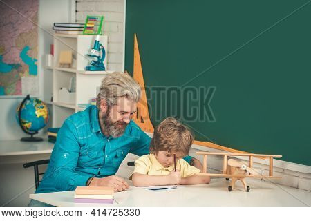 Private Kids Tutoring. Elementary School. Child Home Studying And Home Education. Education Backgrou