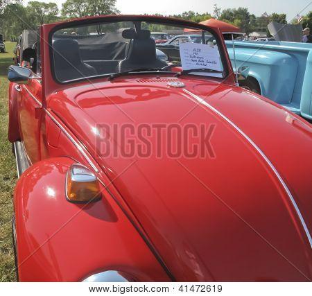 1971 Red Vw Super Beetle Hood View