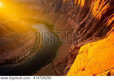 Horseshoe Bend By Grand Canyon At Sunset. Grand Canyon