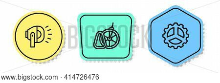 Set Line Bicycle Head Lamp, Parking And Sprocket Crank. Colored Shapes. Vector