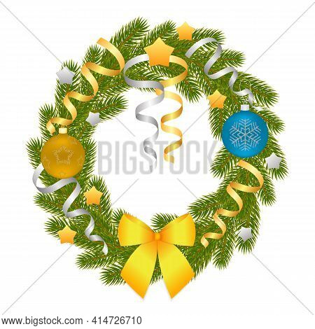 Christmas Wreath Of Branches Of Spruce Or Pine. Christmas Decorations. Christmas Tree. Vector Illust