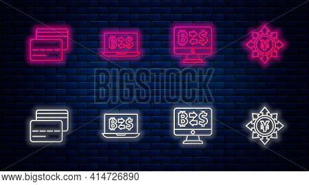 Set Line Cryptocurrency Exchange, , Credit Card And Coin Money With Yen. Glowing Neon Icon On Brick