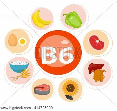Vitamins And Minerals Foods Illustrator Set 10.vector Set Of Vitamin Rich Foods. Vitamin B6-bananas,