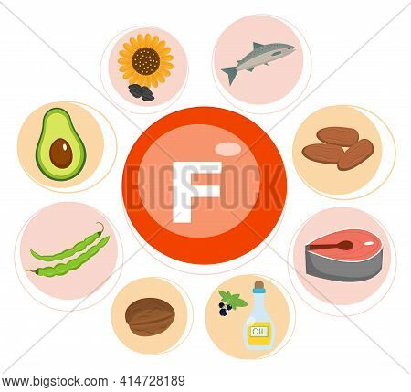 Vitamin F And Vector Set Of Vitamin F Rich Foods. Healthy Lifestyle And Diet Concept.