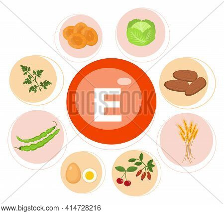 Vitamin E Or Tocopherol. Food Sources. Natural Organic Products With A Maximum Content Of Vitamin E.
